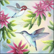 RS - Bee Hummingbirds - Accent Tile