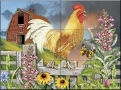 Yellow Rooster Greeting the Day - RS - Tile Mural
